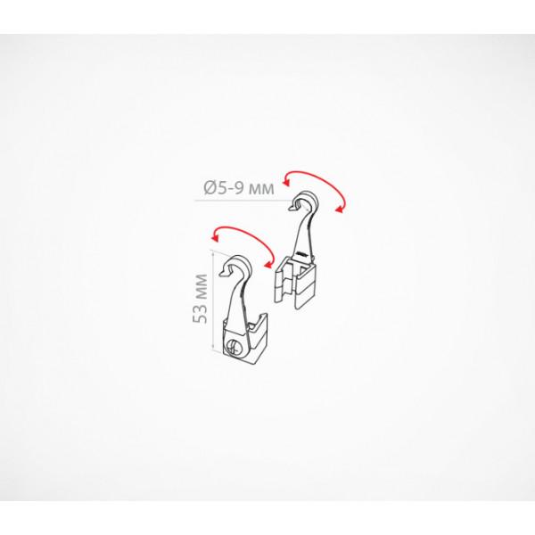 Крючок с подвижным основанием для подвешивания пластиковых рамок