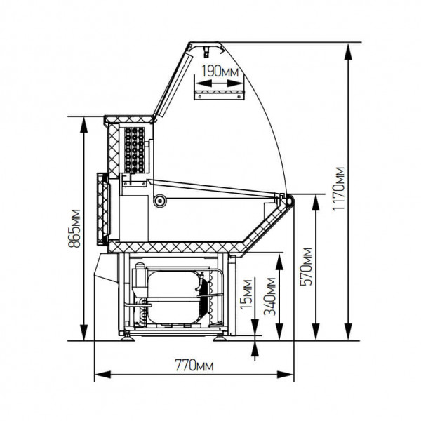 Среднетемпературная витрина НОВА ВХС-1.8 от завода МариХолодМаш