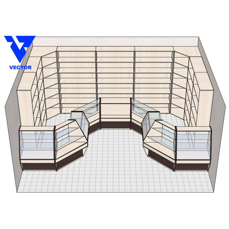 Мебель торговая для магазина продуктов (вариант 1).